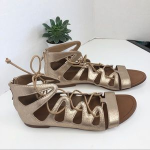 Zara Lace Up Gold Lace Up Sandals size 36 6
